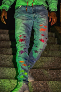 the paint splatter upcycled denim made in new york city by hand, customized in the bronx