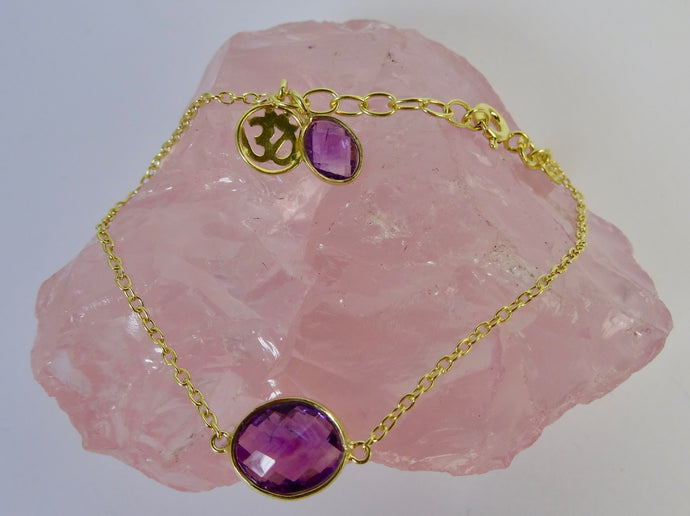 Purple Amethyst and Gold Om Bracelet