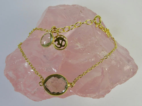 Green Amethyst and Gold Om Bracelet