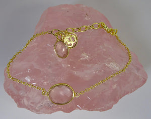 Rose Quartz and Gold Om Bracelet