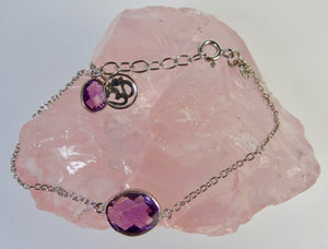 Purple Amethyst and Silver Om Bracelet