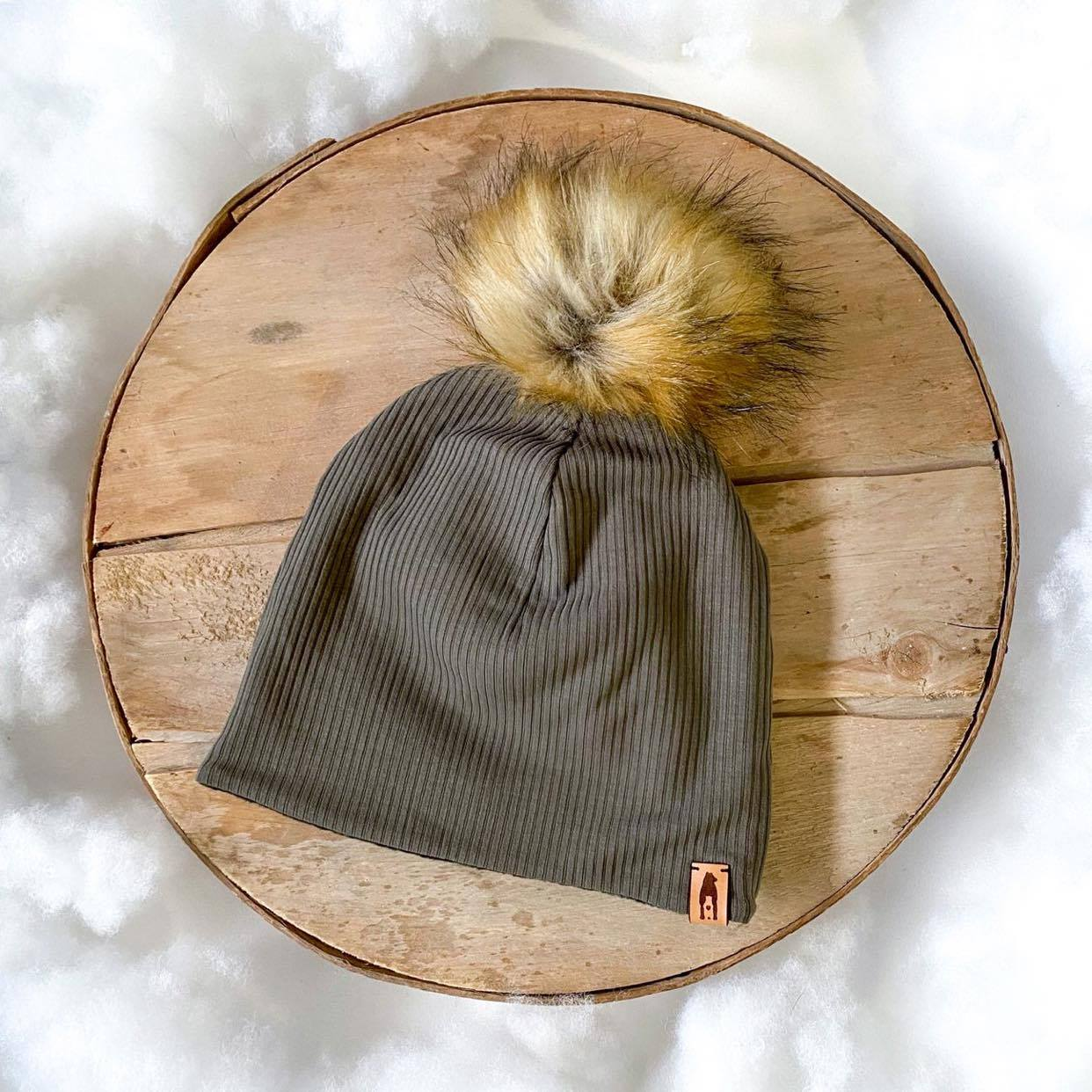 Fleece-Lined Pompom Hat - Adult