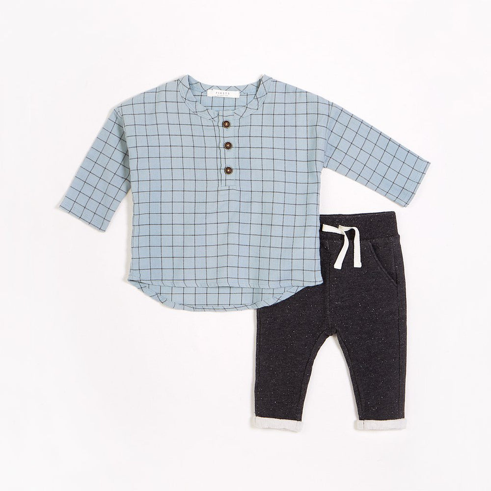 Skyscraper Blue Woven Flannel Outfit Set (2pcs.)