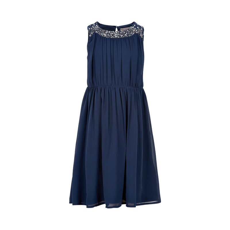 Navy Dress with Sequin Neckline - Lullaby's Boutique