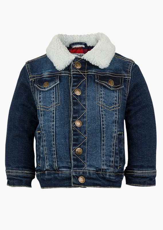 Denim Jean Jacket with Shearling Collar - Lullaby's Boutique