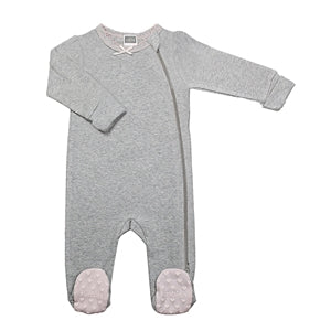 Classics Side Zip Sleeper Grey & Pink - Lullaby's Boutique