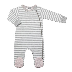 Classics Side Zip Sleeper Grey Stripe with Pink - Lullaby's Boutique