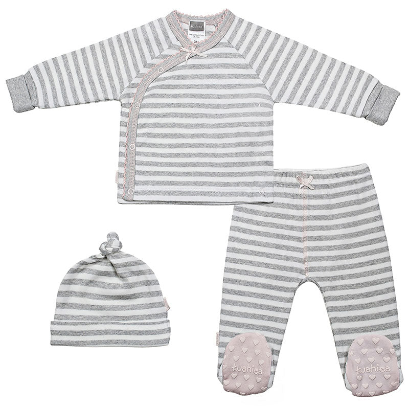 Grey Stripe with Pink Classics Take Me Home Set - Lullaby's Boutique