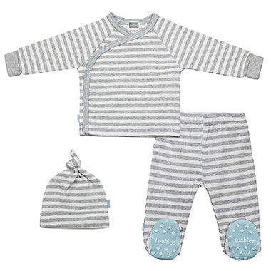 Grey Stripe with Blue Classics Take Me Home Set - Lullaby's Boutique