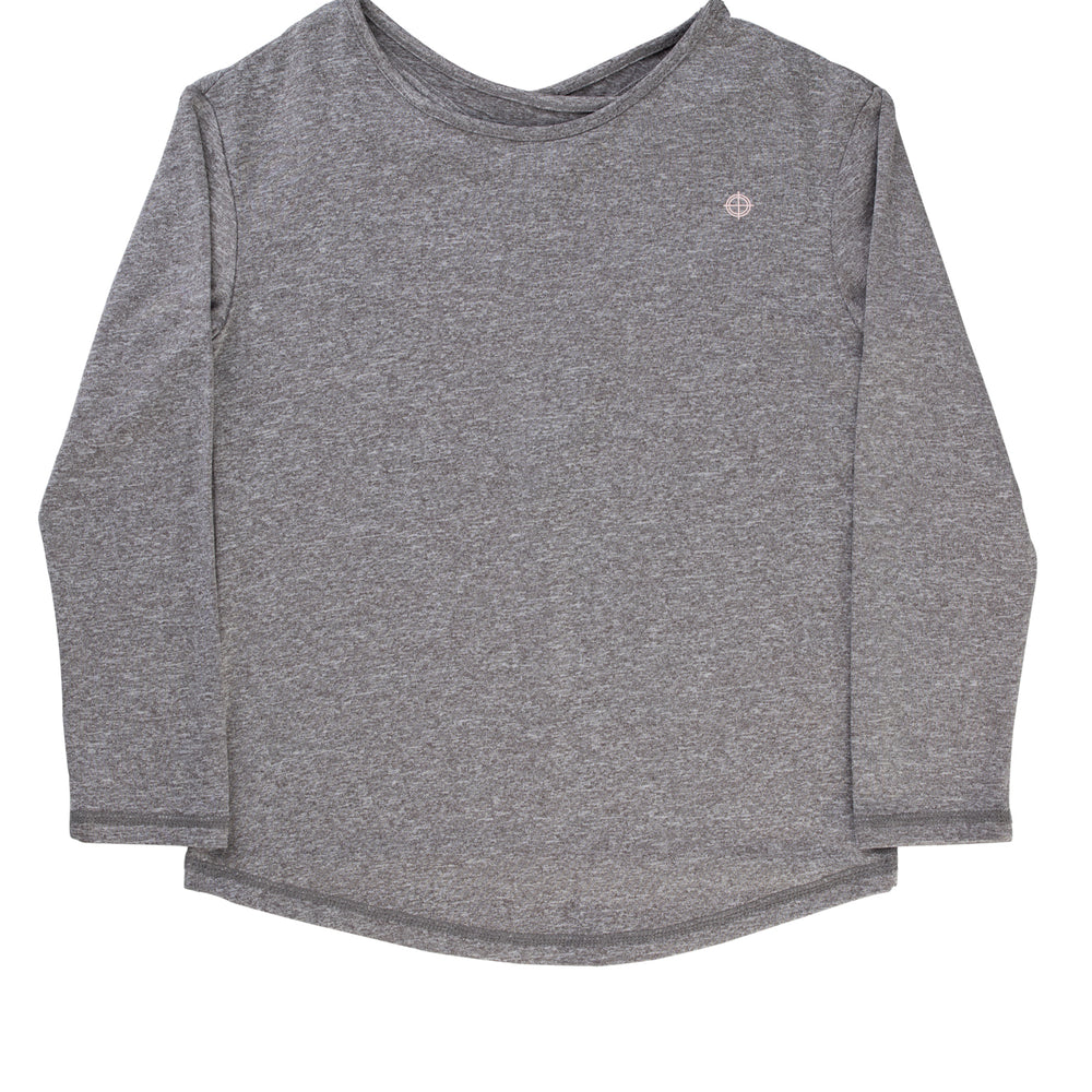 Grey Long Sleeve Key-hole Back Active Top - Lullaby's Boutique