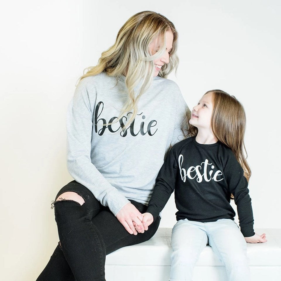 Black Bestie Crewneck Sweater - Lullaby's Boutique