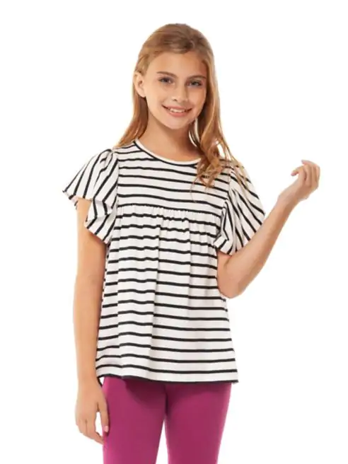 Striped Flutter Sleeve Top - Lullaby's Boutique