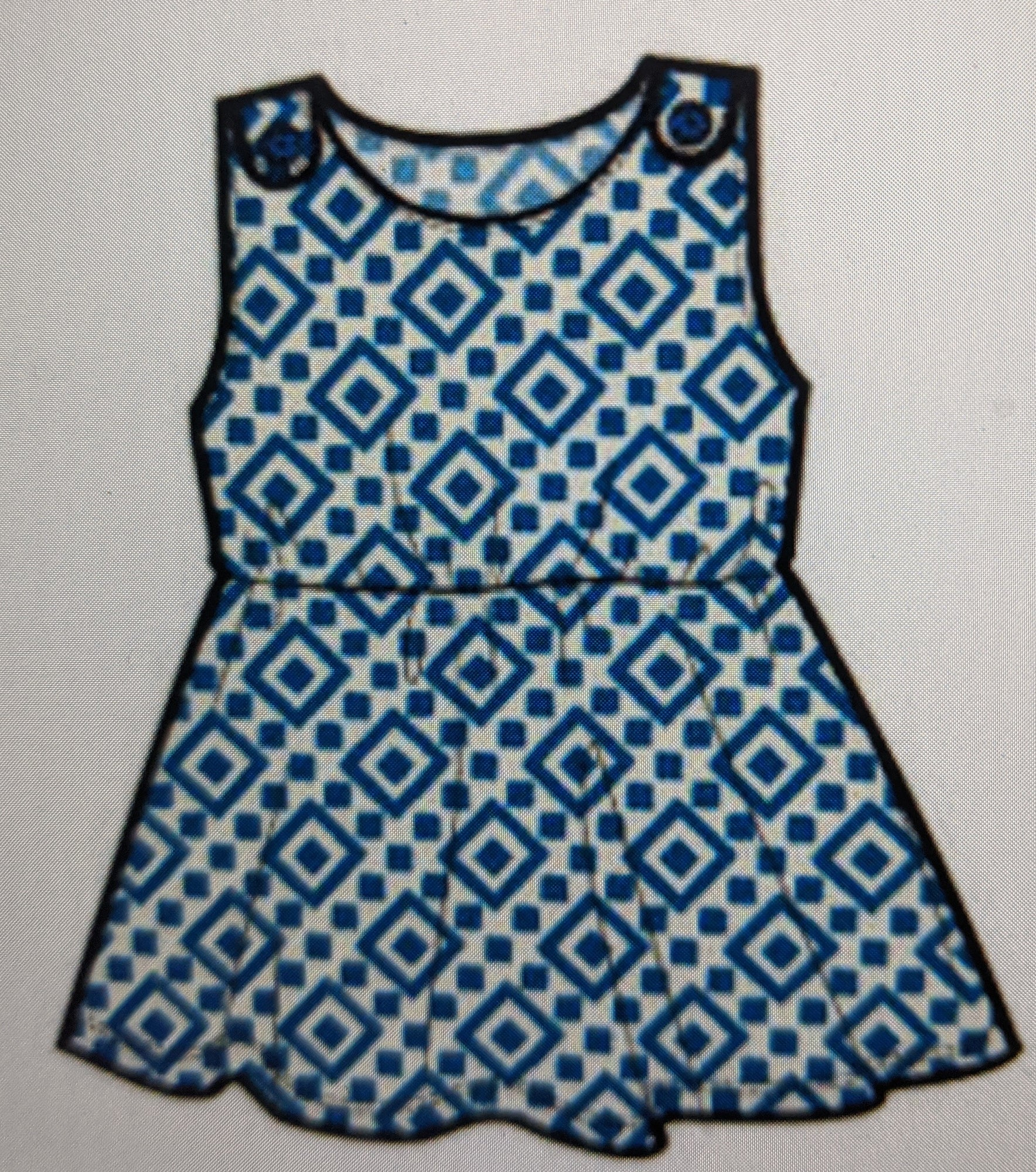 Greek Tile Button Shoulder Dress - Lullaby's Boutique