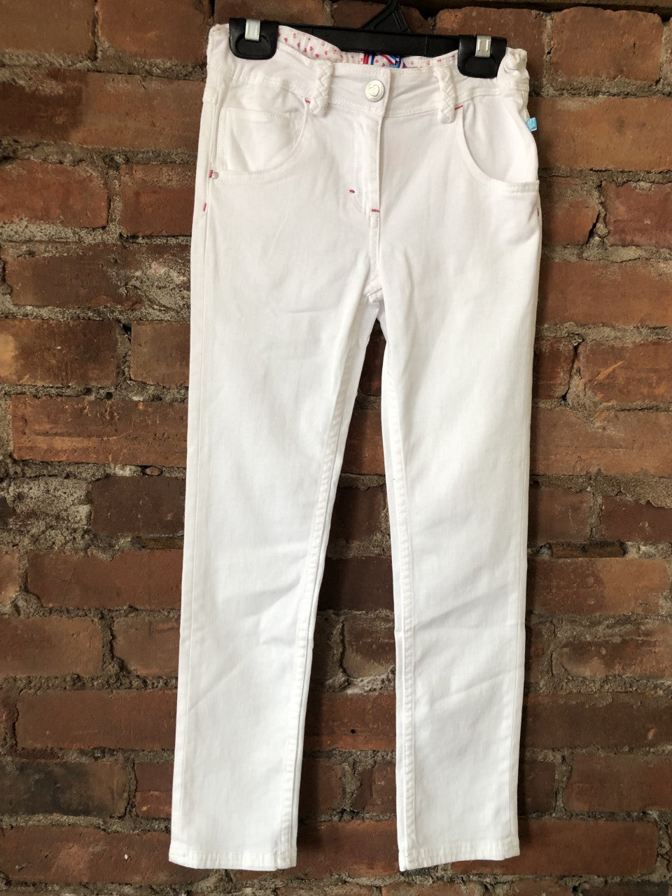 White Jeans with Braid Belt Loop - Lullaby's Boutique