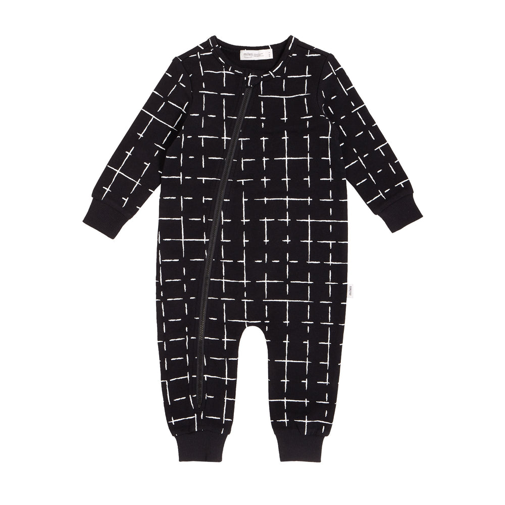 Miles Baby Black Grid Playsuit