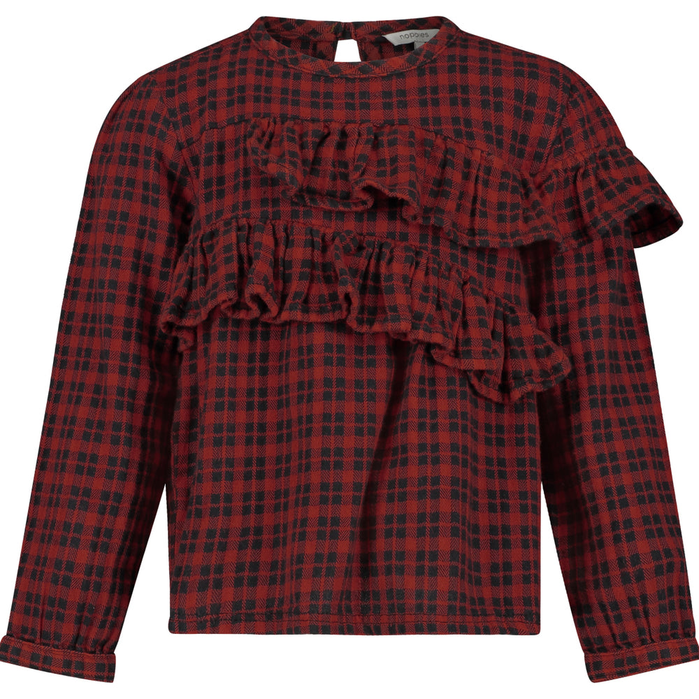 Ruffle Buffalo Plaid Crowley Blouse - Lullaby's Boutique