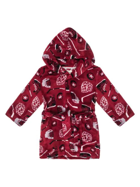 Hockey Print Hooded Robe - Lullaby's Boutique