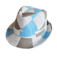 Blue and White Argyle Canvas Fedora - Lullaby's Boutique