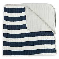 Cotton Muslin Quilt Navy Stripe - Lullaby's Boutique