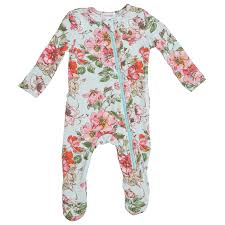 Woodland Floral Zipper Footie Sleeper