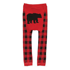 Buffalo Check Plaid Black Bear Leggings - Lullaby's Boutique
