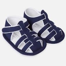 Navy Striped Twill Sailor Sandal - Lullaby's Boutique