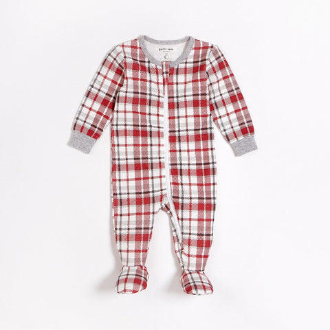 Red Plaid Footed Sleeper