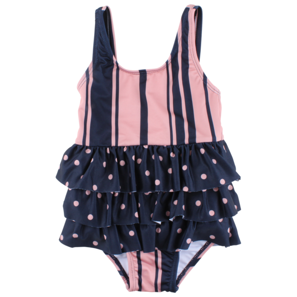 Stripe and Polka Dot Ruffled Bathing Suit - Lullaby's Boutique