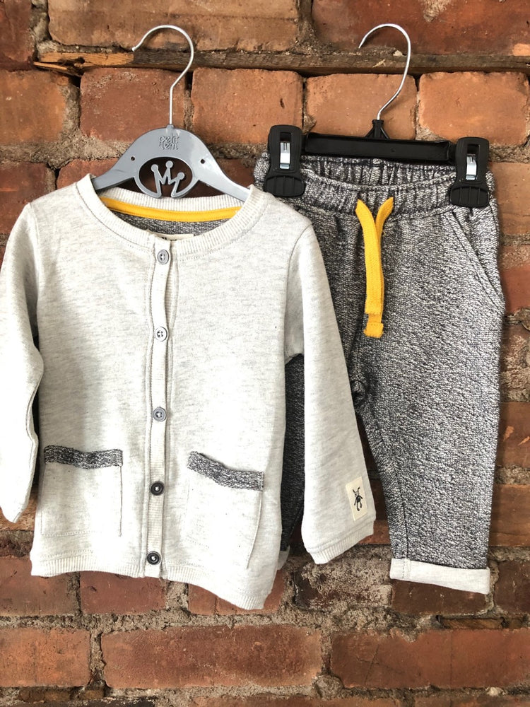 Mr. Rags Heather Grey and Mustard 2 Piece Set - Lullaby's Boutique