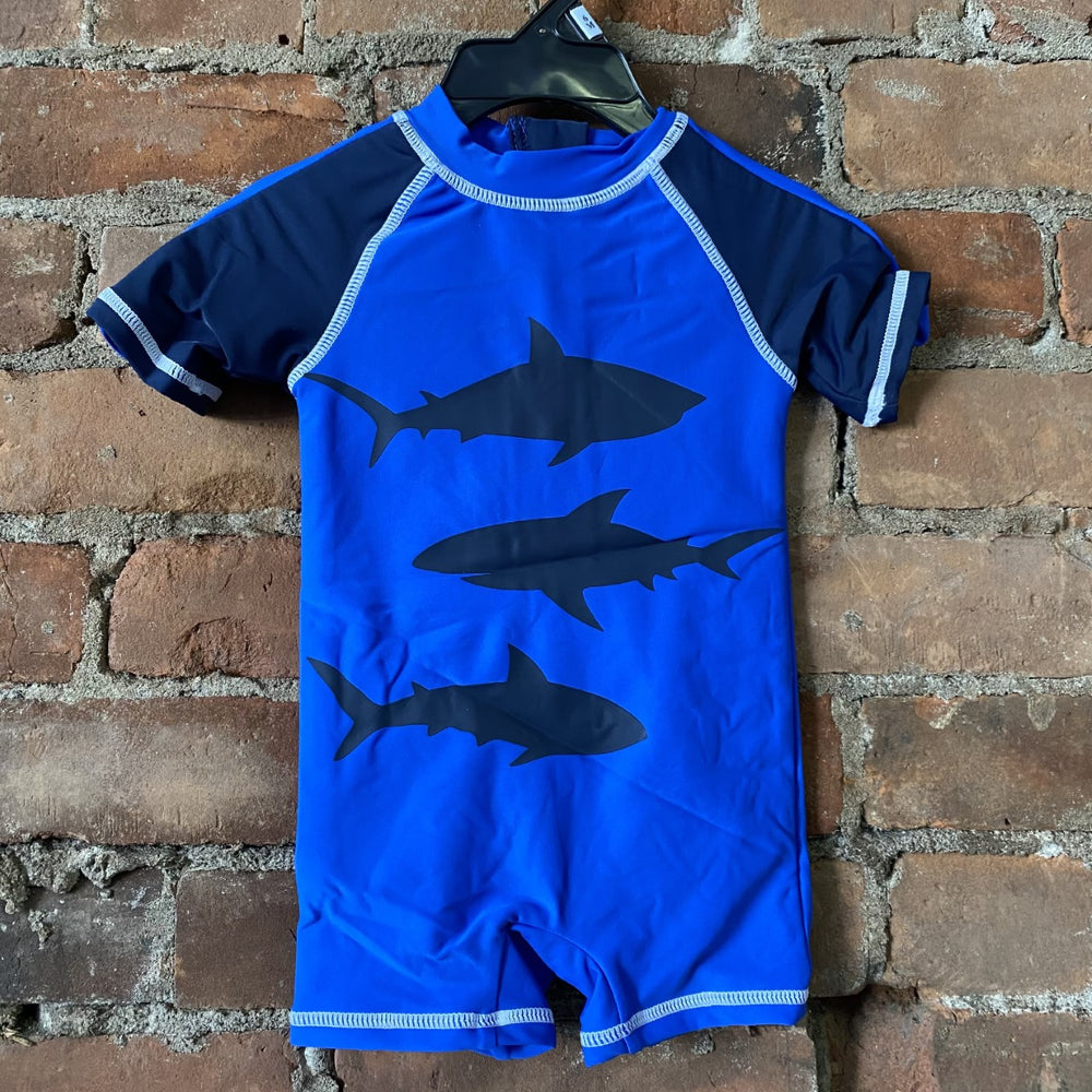 Olympian Blue Shark Rashguard Swimsuit