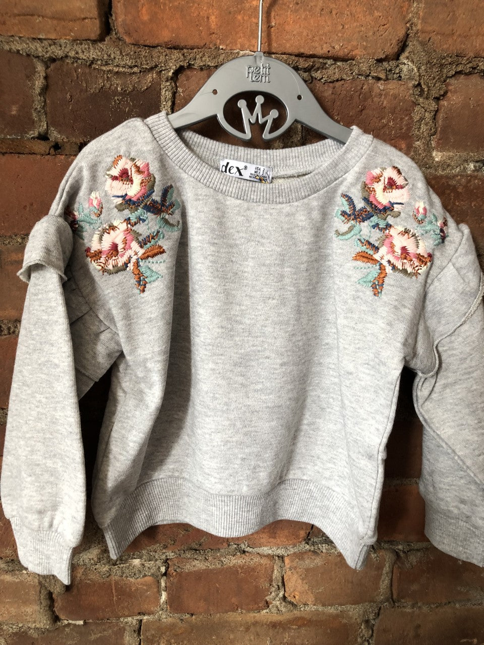 Pullover with Ruffles Sleeves and Embroidery - Lullaby's Boutique