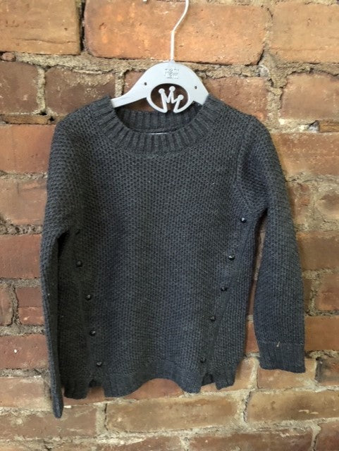 Charcoal Sweater with Stud Detailing - Lullaby's Boutique
