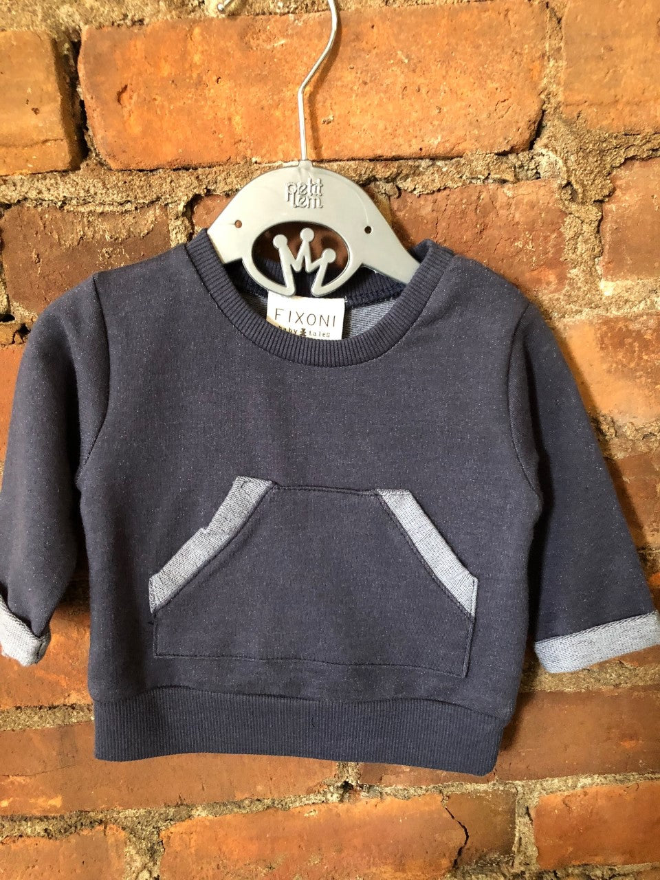 Navy Kangaroo Pocket Sweatshirt - Lullaby's Boutique