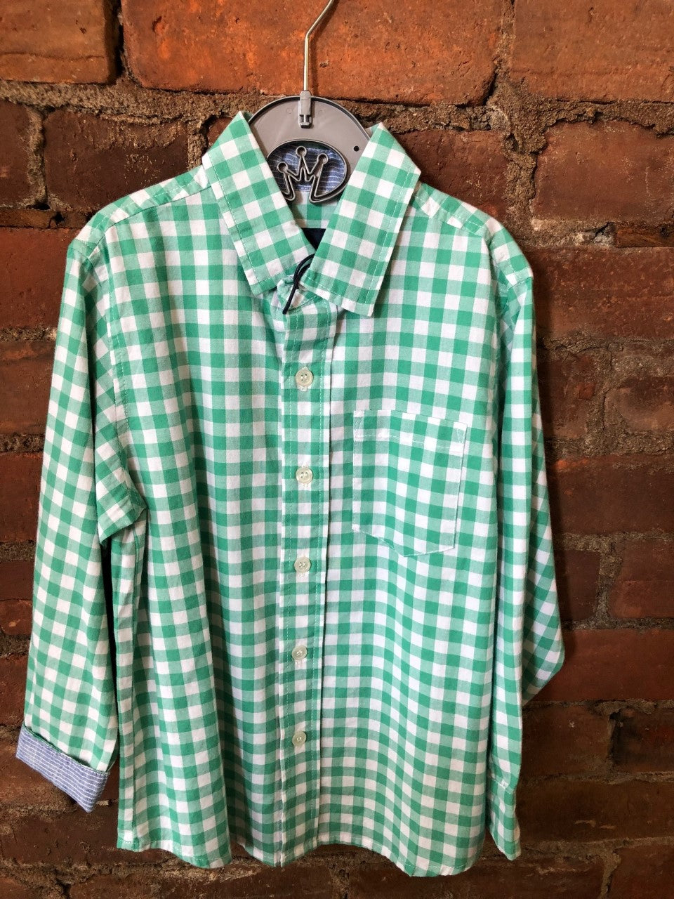 Green Check Button Up Shirt - Lullaby's Boutique