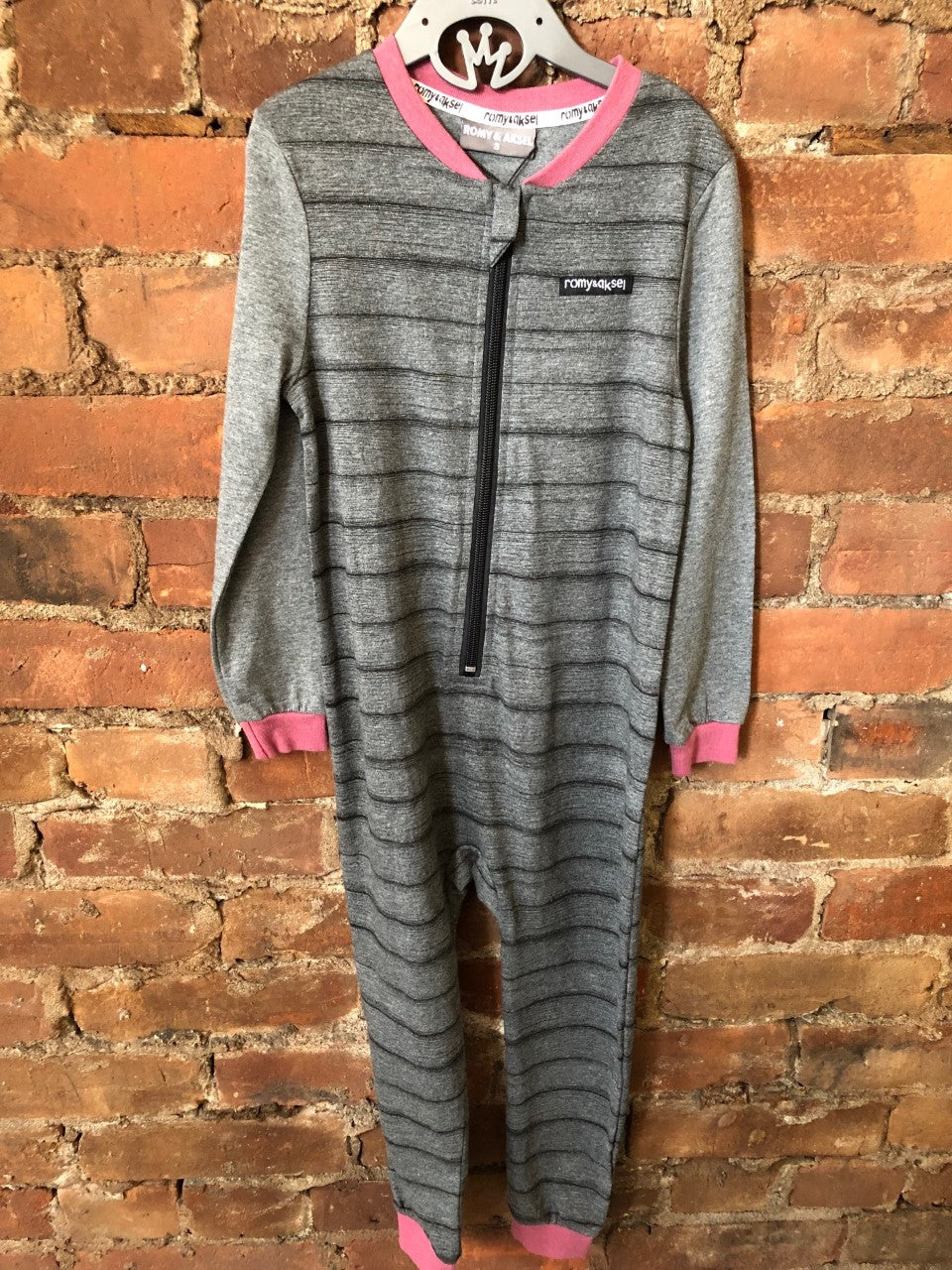 Grey Stripe Playsuit with Plum - Lullaby's Boutique