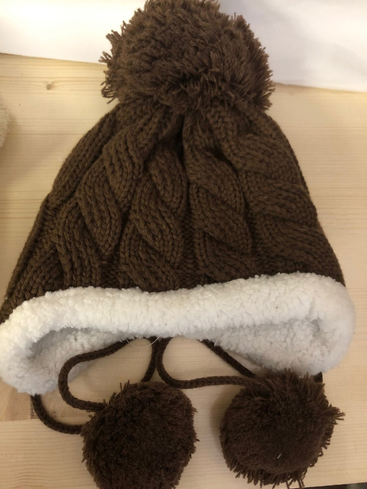 Brown Knit Aviator Hat - Lullaby's Boutique
