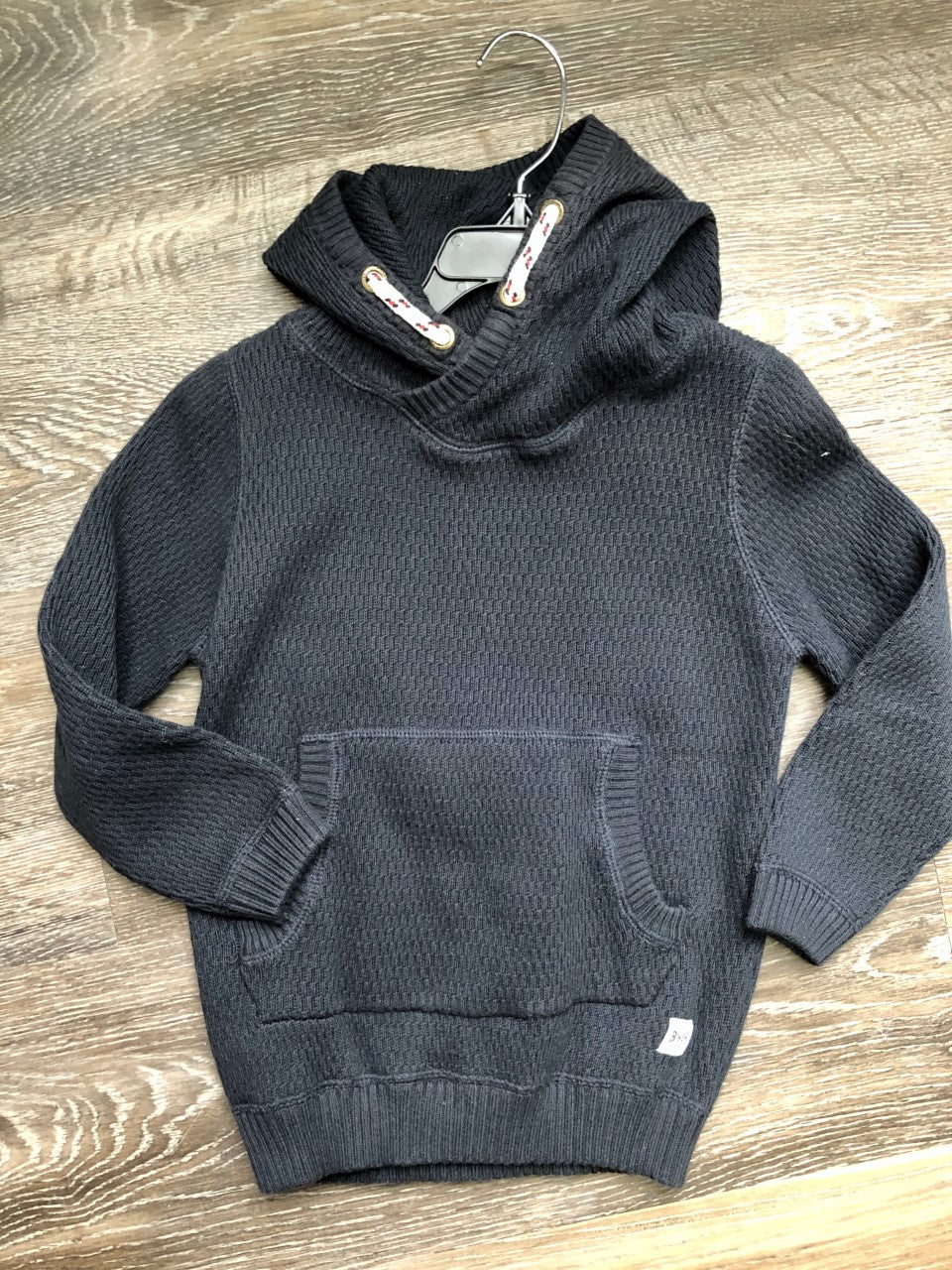 Navy Knit Sweater with Kangaroo Pocket and Rope Hood Detail - Lullaby's Boutique