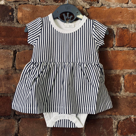Navy Striped Diaper Shirt Dress