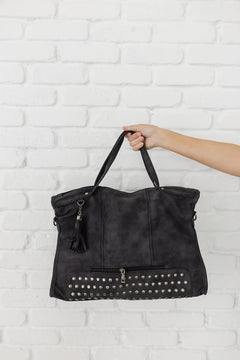 Faux Suede Studded Bag