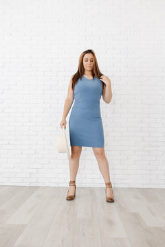 Your Go To Blue Ribbed Midi Dress