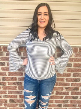 Black & White Striped Bell Sleeve Top