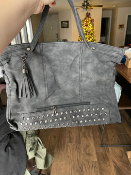 Studded Dark Grey Faux Leather Tote