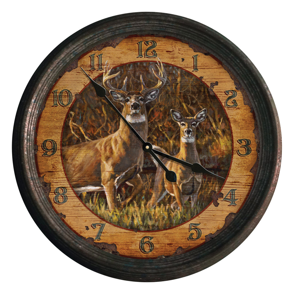 Clock 15-inch - Buck and Doe (Rusted)