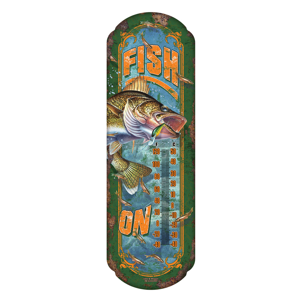 Tin Thermometer - Fish On