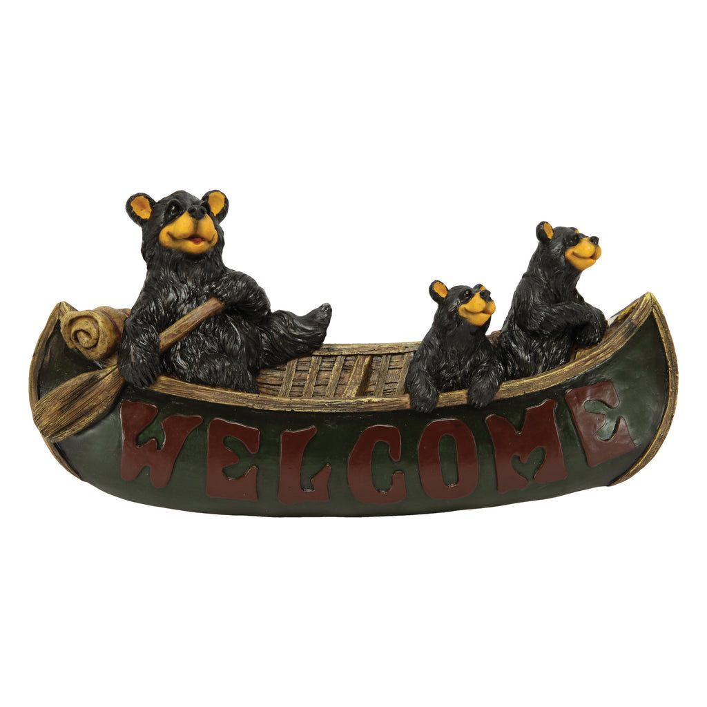Welcome Sign - Bears in Canoe