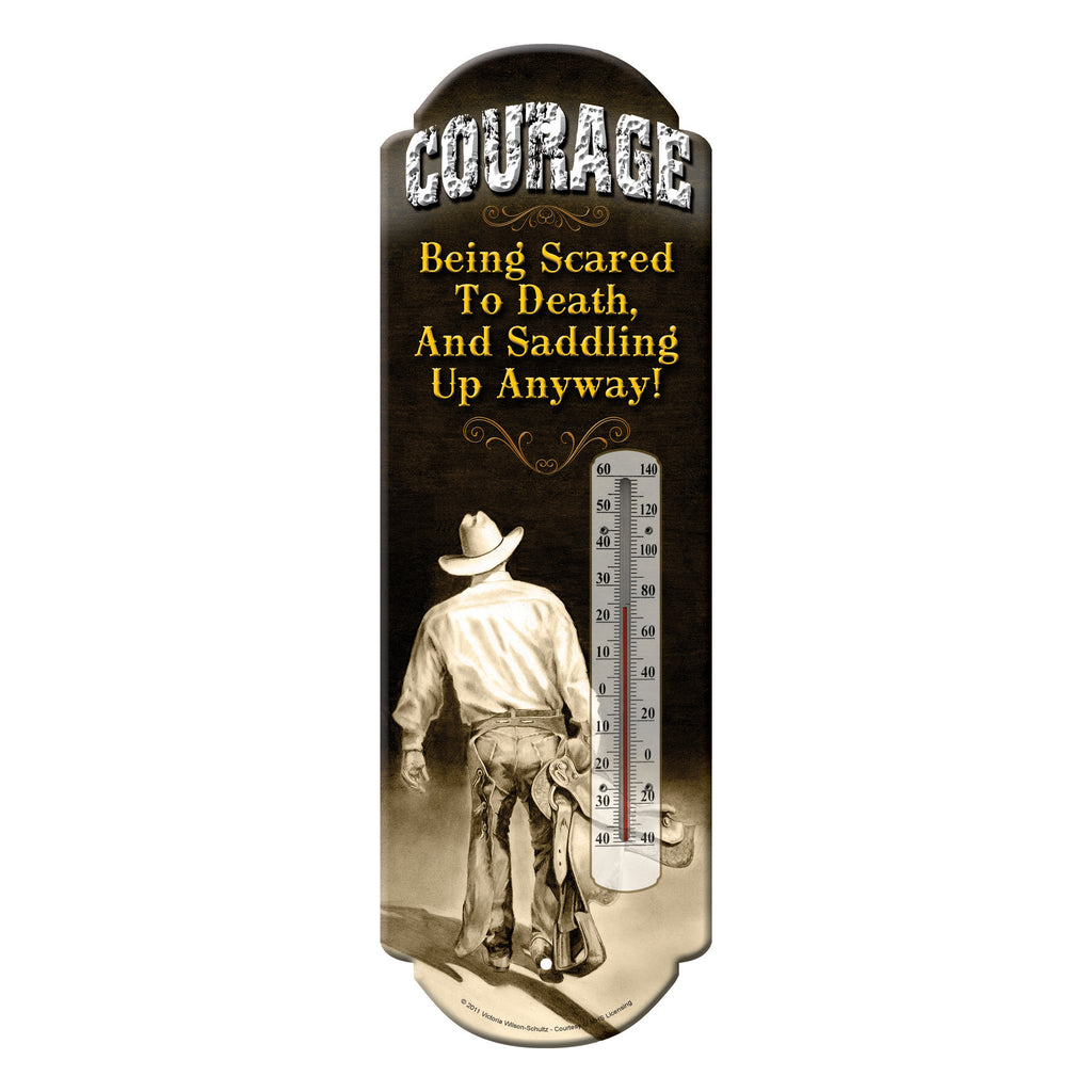 Tin Thermometer - Courage/Cowboy