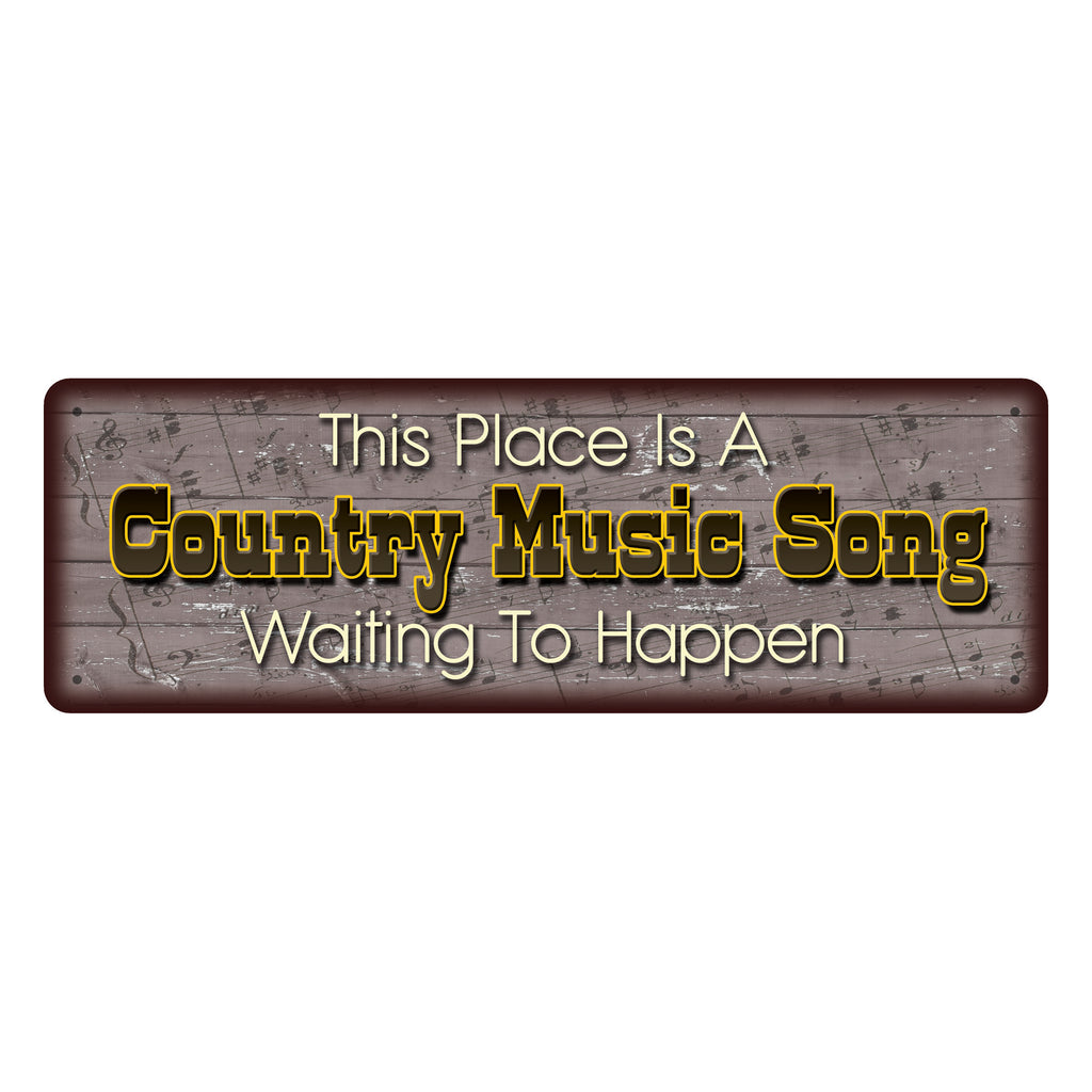 Metal Tin Signs, Funny, Vintage, Personalized 10.5-Inch x 3.5-Inch - Country Music Song