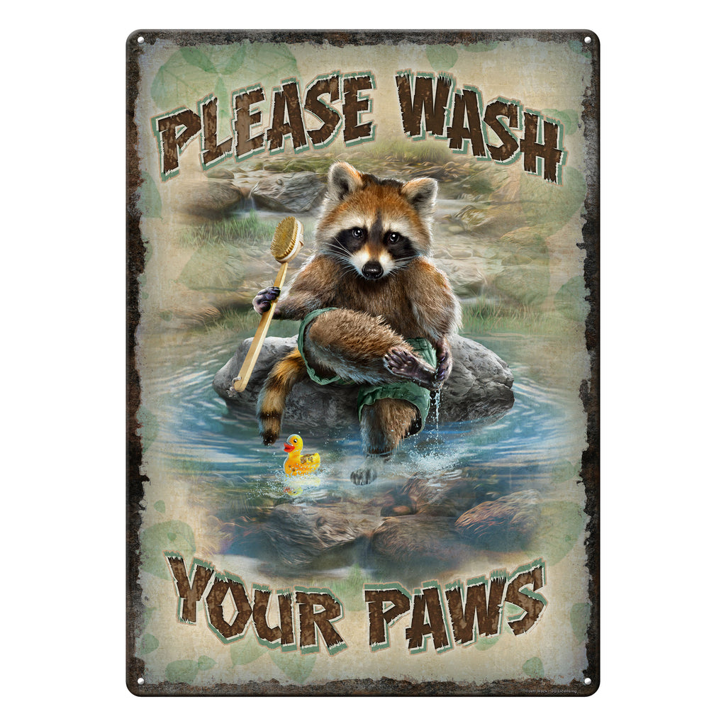 Metal Tin Signs, Funny, Vintage, Personalized 12-Inch x 17-Inch - Wash Your Paws