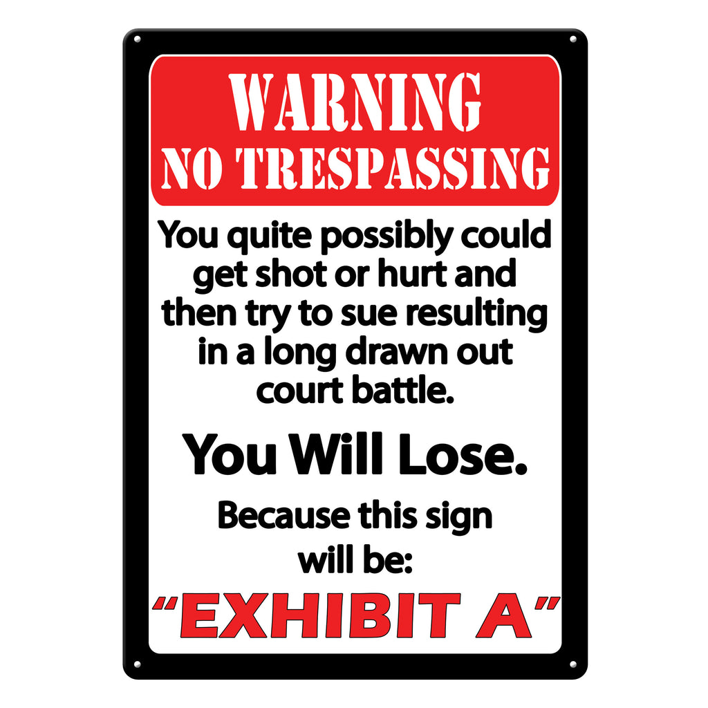 Metal Tin Signs, Funny, Vintage, Personalized 12-Inch x 17-Inch - Exhibit A