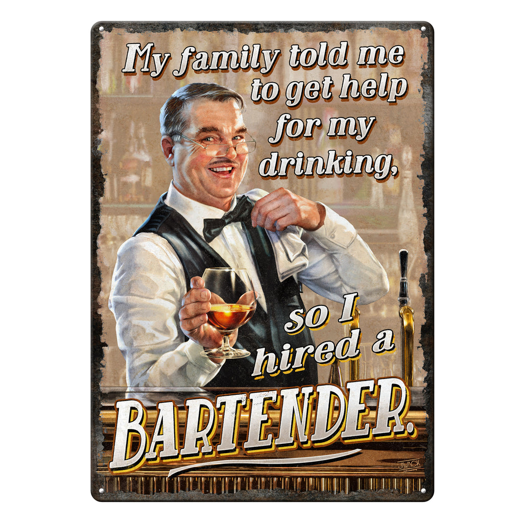 Metal Tin Signs, Funny, Vintage, Personalized 12-Inch x 17-Inch - Hired Bartender
